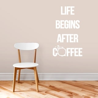 Life Begins After Coffee Kitchen Wall Decal 18-inch wide x 32-inch tall