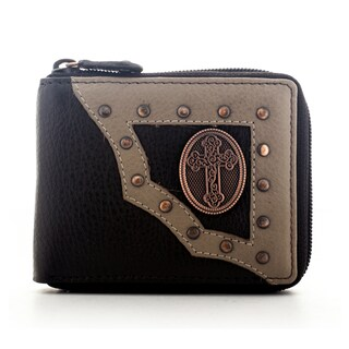 YL Men's Brown Leather Zip-around Bifold Wallet