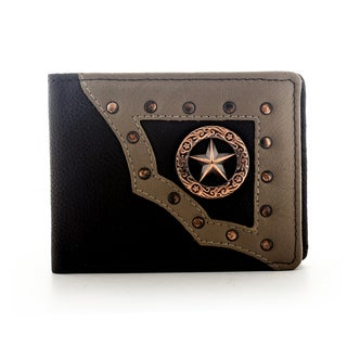 YL Men's Brown Leather Star Bifold Wallet