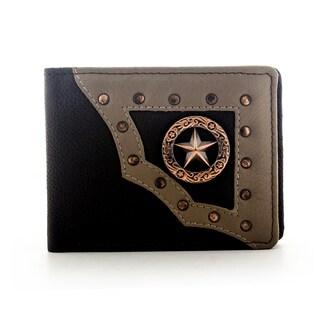 YL Men's Brown Leather Star Bifold Wallet
