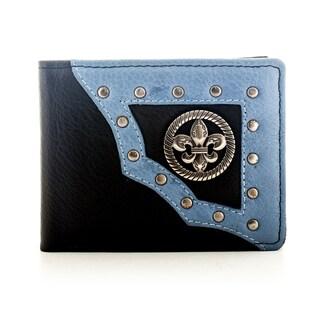 YL Men's Leather Bifold Fleur-de-Lis Wallet