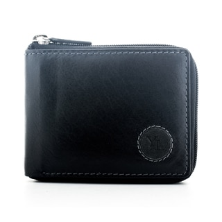 YL Men's Black Leather Zip-around Bifold Wallet