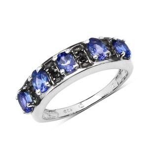 Malaika .925 Sterling Silver 7/8ct Genuine Tanzanite & Black Spinel Ring