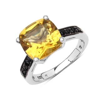 Olivia Leone .925 Sterling Silver 3 7/8ct Genuine Citrine & Black Spinel Ring