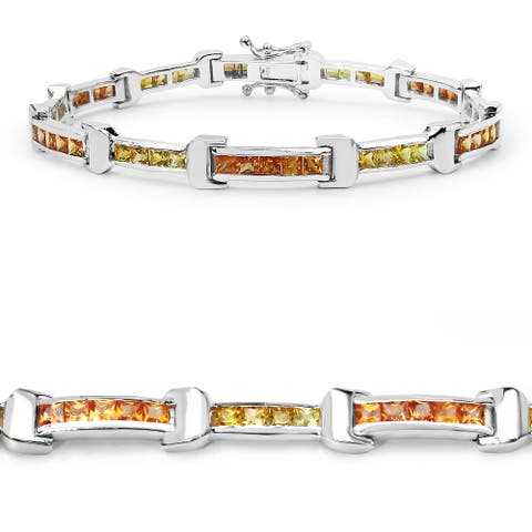 Malaika .925 Sterling Silver 6 1/2ct Genuine Orange and Yellow Sapphire Bracelet