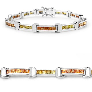 Malaika .925 Sterling Silver 6 1/2ct Genuine Orange and Yellow Sapphire Bracelet