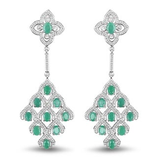 Malaika .925 Sterling Silver 3 1/4ct Genuine Emerald & White Topaz Accent Earrings