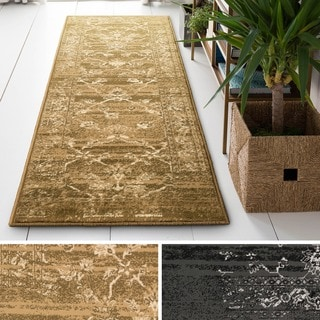 Pasha Collection Medallion Traditional Ivory Runner Rug 1