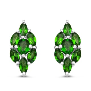 Malaika .925 Sterling Silver 1 3/8ct Genuine Chrome-Diopside Earrings