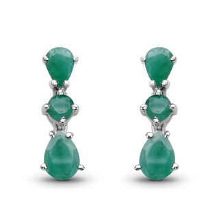 Malaika .925 Sterling Silver 2 2/5ct Genuine Emerald Earrings