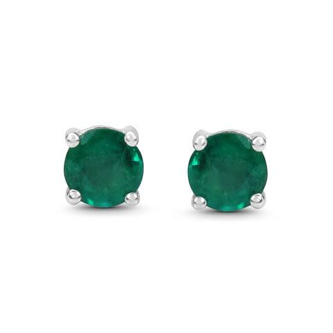 Malaika .925 Sterling Silver 7/8ct Genuine Emerald Earrings