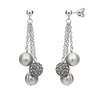 DaVonna Grey Freshwater Pearl and Cubic Zirconia Ball Earrings (8-9mm)|https://ak1.ostkcdn.com/images/products/11152727/P18149881.jpg?impolicy=medium