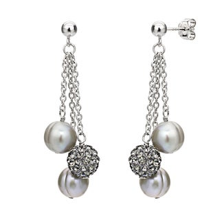 DaVonna Grey Freshwater Pearl and Cubic Zirconia Ball Earrings (8-9mm)