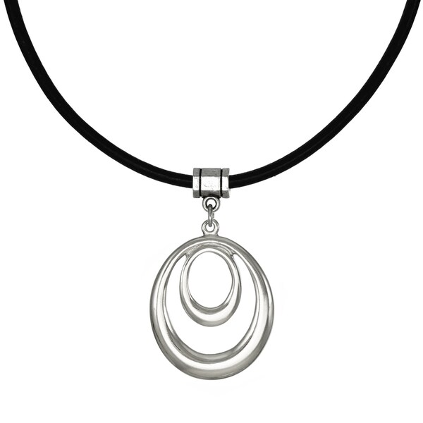 Jewelry by Dawn Bright Silver Double Oval Hoop Greek Leather Cord Necklace
