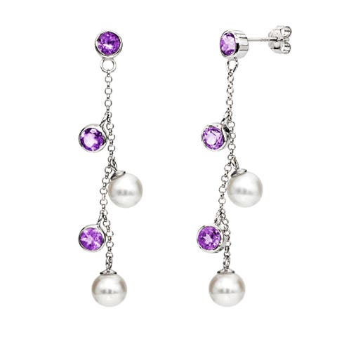 DaVonna Sterling Silver White Freshwater Pearl and Purple Amethyst Dangle Earrings (6-7mm)