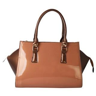 Rimen and Co. Shiny Patent Faux Leather Multi Spaced Satchel Shoulder Handbag
