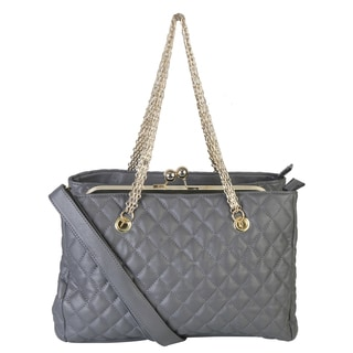 Rimen and Co. Gold Metal Chain Strap Quilted Satchel Handbag