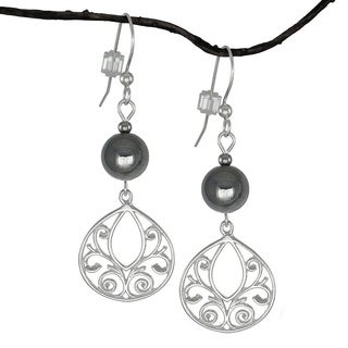 Jewelry by Dawn Hematite Fancy Filigree Teardrop Sterling Silver Earrings