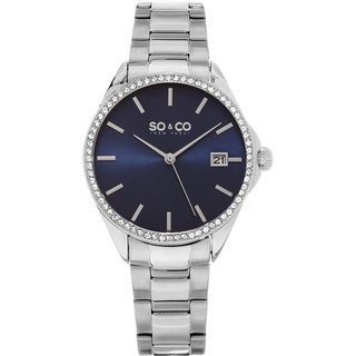SO&CO New York Women's Madison Quartz Stainless Steel Bracelet Crystal Watch
