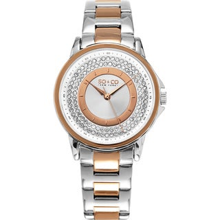 SO&CO New York Women's Madison Quartz Two Tone Stainlesss Steel Bracelet Crystal Watch