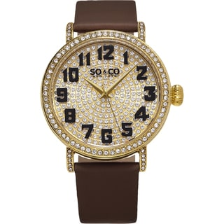 SO&CO New York Women's Madison Quartz Leather Strap Crystal Watch