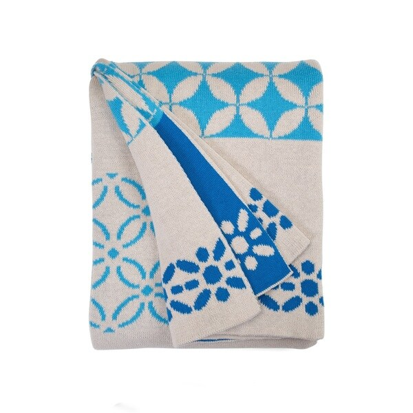 Handmade Riverway Blue Throw Blanket (India)