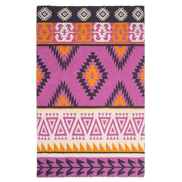 Handmade Olaias Pink Multicolored Throw Blanket (India)