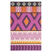 Handmade Olaias Pink Multicolored Throw Blanket (India)