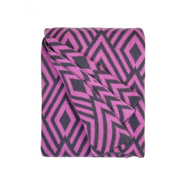 Handmade Nakano Pink and Grey Throw Blanket (India)