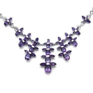 Malaika .925 Sterling Silver 20 1/3ct Genuine Amethyst Necklace