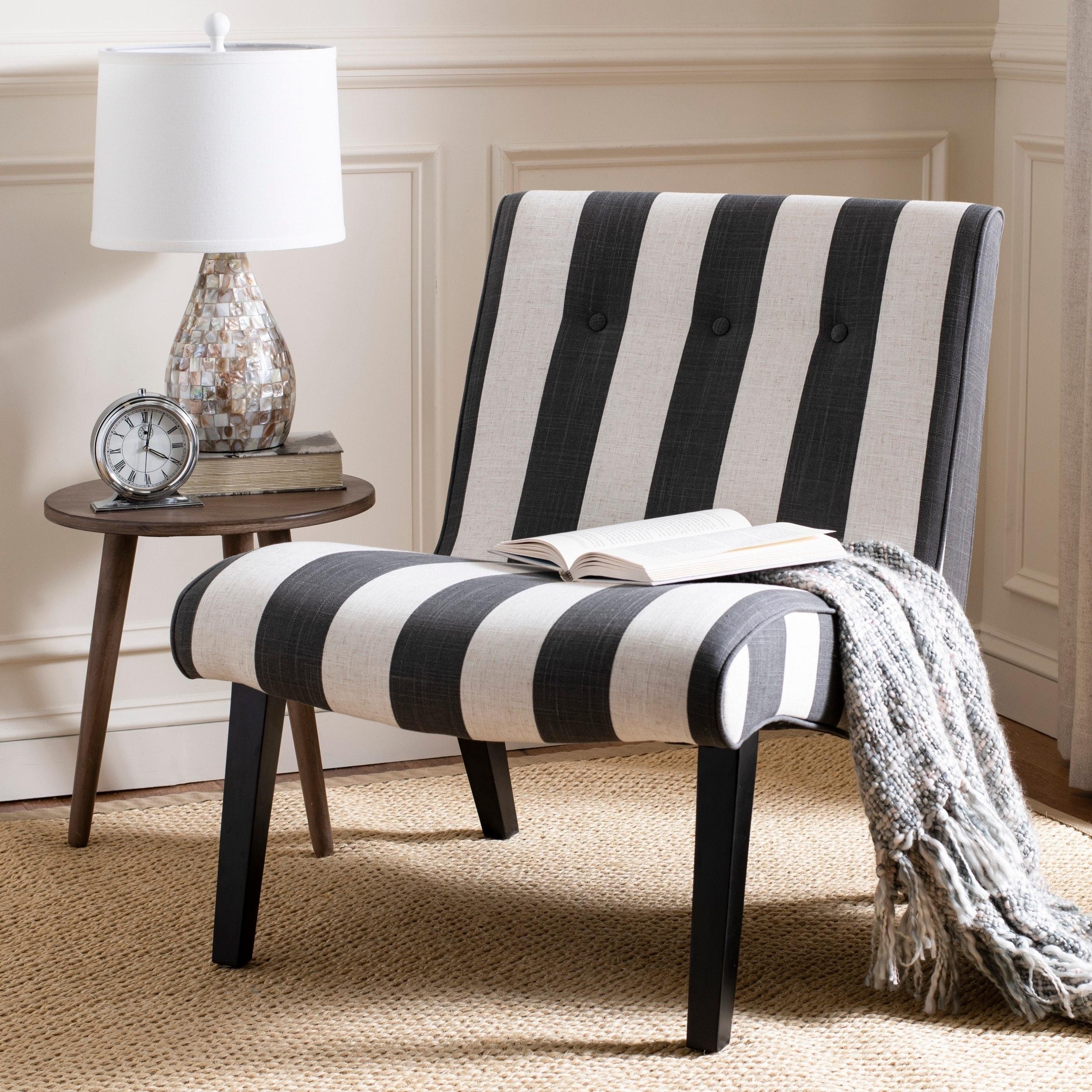 Safavieh Mandell Black White Linen Blend Stripe Chair 252 X