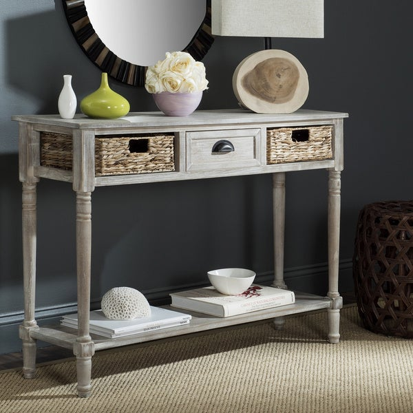 Safavieh Christa Vintage White 3 Drawer Console Storage Table