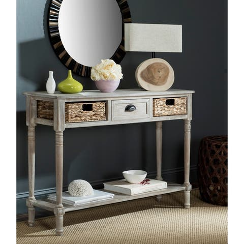 "Safavieh Christa Vintage White Washed 3-Drawer Console Storage Table - 44.5"" x 13.4"" x 31.5"""
