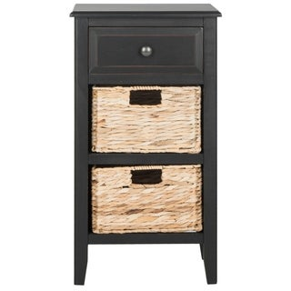 Safavieh Everly Distressed Black Drawer Storage Side Table