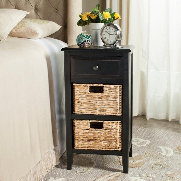 Safavieh Everly Distressed Black Drawer Storage Side Table