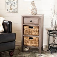 "Safavieh Everly Vintage Grey/ White Drawer Storage Side Table - 15"" x 11.8"" x 27.6"""