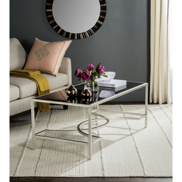 Shop Safavieh Inga Silver Tempered Glass Top Coffee Table