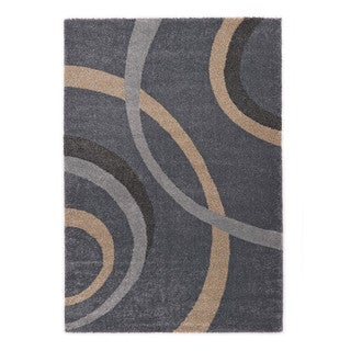 "Somette Crestview Collection Coastal Blue Abstract Area Rug (6'7"" x 9'6"")"