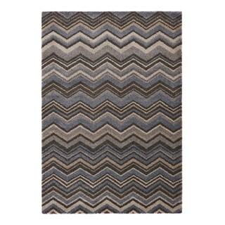 "Somette Crestview Collection Blue Chevron Area Rug (6'7"" x 9'6"")"