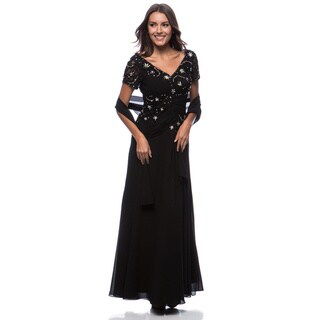 DFI Women's Lace & Sequin Detail Gown (Black/Large)(As Is Item)