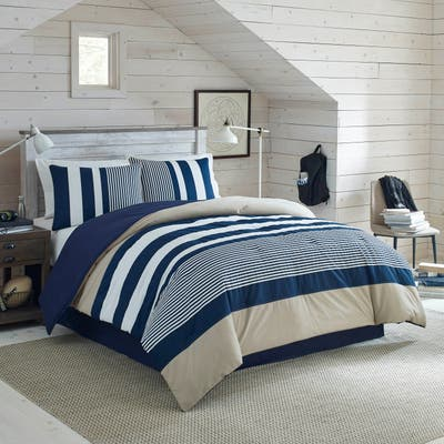 IZOD Classic Stripe 4-Piece White, Blue, and Khaki Comforter Set