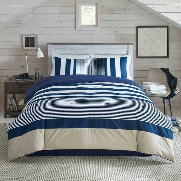 King size 7 Piece Microfiber Nautical Themed Comforter set Red /& White Striped