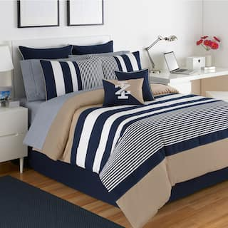 izod classic stripe 4 piece white blue and khaki comforter set - Nautical Bedding