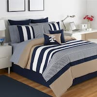 IZOD Classic Stripe 4-Piece White, Blue, and Khaki Comforter Set