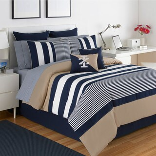 IZOD Classic Stripe 4-Piece White, Blue, and Khaki Comforter Set (3 options available)