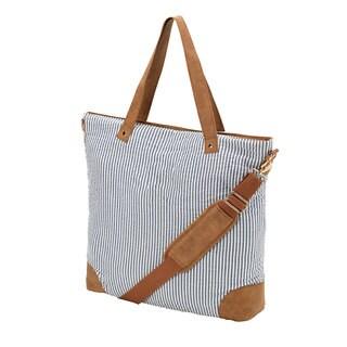 Seersucker 18-inch Shoulder Tote Bag