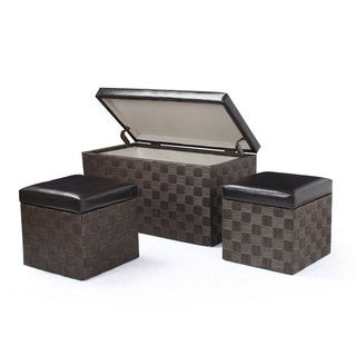 Adeco 3-piece Faux Leather Lid Storage Bench Ottoman