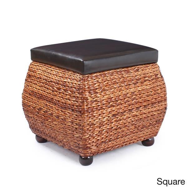 Amazing Shop Adeco Brown Storage Ottoman Stool With Bulrush Weave Machost Co Dining Chair Design Ideas Machostcouk