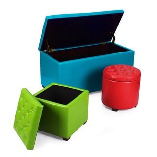 Adeco Home 3-piece Storage Ottoman Bench