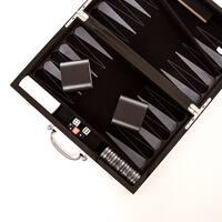 """Carbon Fiber 15"""" Backgammon Set"""